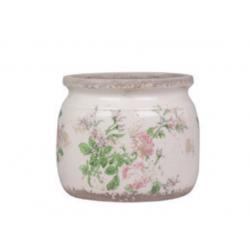 Pot de fleurs motifs rose Chic Antique