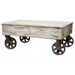 Table basse sur roulettes en bois Chic Antique