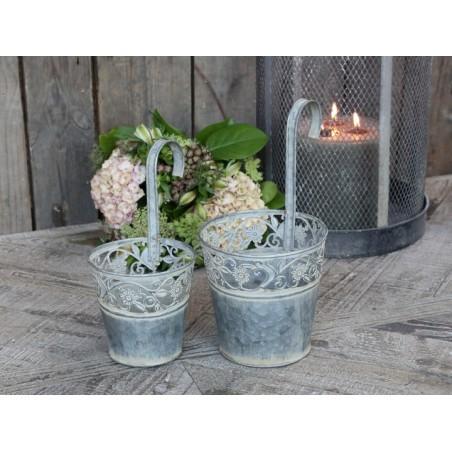 Cache-pot avec bord en fleurs Chic Antique